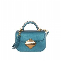Original Charles & Keith Metallic Accent Top Handle Bag 030 - Blue Tosca
