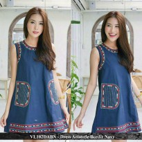 dress wanita murah -pusat baju wanita - VL102DABN - dress Aristotle bordir navy