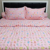 Sleep Buddy Set Sprei dan Bed Cover Little Elephants Pink Extra King Size