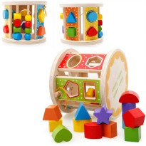 [globalbuy] Geometric Shape Wooden Building Blocks Intelligence Box Learning Match Classif/4451209