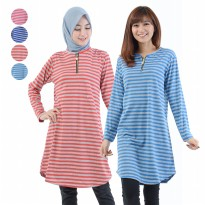 Jfashion Tunik Seleting corak salur simpel elegan - Melinda