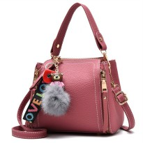 WOMAN HANDBAG #ELV87458 FASHIONABLE AND ELEGAN WITH POMPOM HIGH QUALITY IMPORT