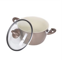 Atria Eco Ceramica Casserole Pan With Glass Lid Champagne Gold 24 cm