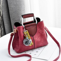 WOMAN HANDBAG #ELV87114 FASHIONABLE AND ELEGAN WITH POMPOM AND LONGSTRAP HIGH QUALITY IMPORT