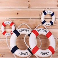 [globalbuy] 4Size Navy Mediteranean Sea Life Buoy Wall Stickers Hanging Lifebuoy For Bar H/4618818