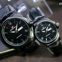 Jam Tangan COUPLE Swiss Army - SA574-01 Tali Kulit (full hitam)