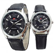 JAM TANGAN COUPLE SWISS ARMY TERBARU (HITAM)