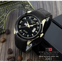 Grosir Jam Tangan Pria Murah Tissot Daydate Leather Black Rose Ring Black