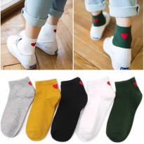 KK016 Kaos Kaki Pendek Red Love Wanita Low Socks