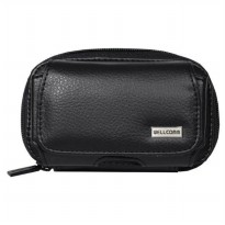 Wellcomm Leather Case Universal KP Dobel Smartphone Up to 5 Inch - Hitam
