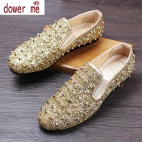 Dower Me New 2017 Men Loafers Pointed Toe Brogue Flats Velvet Fashion Moccasins Cow Suede Slip on Casual Dress Shoes Size:38-43