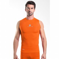Tiento Baselayer Manset Rash Guard Compression Sleeve Less Orange Silver Original