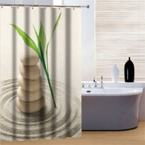 [globalbuy] 180x180cm Sand stone Greenery Waterproof Mould Proof Shower Curtain Bathroom P/4617729