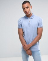 Hollister Slim Fit Pique Polo in Light Blue