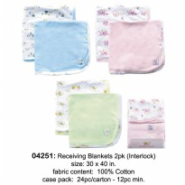 LF-BED RECEIVING BLANKETS 2PK(76X102CM)PINK/BLUE/YELLOW