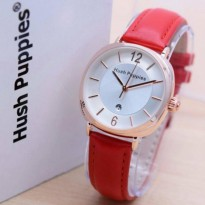 Jam Tangan Wanita Hush Puppies -Cas Gold - tali Kulit (RED)