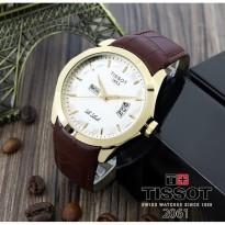 Grosir! TISSOT TANGGAL HARI KULIT DARK BROWN GOLD COVER WHITE