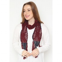 Mobile Power Ladies Knitting Syal - Maroon AG60065
