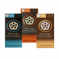 Wonder Chocolate Dark Choc SeaSalt & Sweet Nibs 73%, Dark Choco 61% & 73% (30gr)