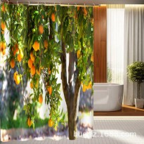 [globalbuy] 3D printing Orange trees printed shower curtain unique shower curtains for bat/4491323