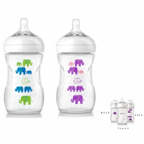 Philips Avent 1 Natural Bottle 260ml with Slow Flow 1m+ - Elephant Girl