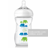 Philips Avent 1 Natural Bottle 260ml with Slow Flow Nipple 1m+ - Elephant Boy