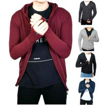 Jaket Ariel Bahan Rajut Polos / Knitting Outer Jacket Sweater Roundhand with Hoodie