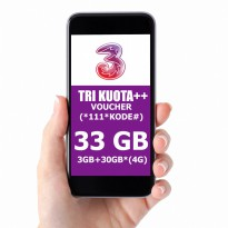 TRI three Voucher 33GB 4G LTE, 24jam 30hr