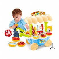 BBQ CART PLAYSET BLUE KADO MAINAN ANAK