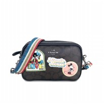 Authentic Coach Pouch Crossbody With Minnie Mouse Patches - Black