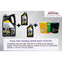 Paket Bundling Oli 7 LITER MOBIL DELVAC MX 15W-40 & FILTER OLI TOYOTA FORTUNER ORIGINAL MADE IN SINGAPORE