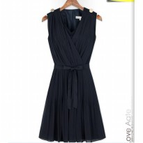 [DJ] new European style V-neck pleated dress