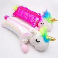 TP0058 Tempat Pensil Kawaii Pensil Unicorn Sequien Boneka Pencil Case
