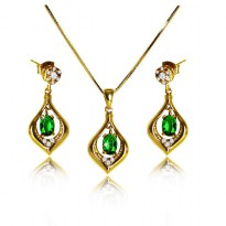 Afina Jewelry Green Crystal Korean Necklace Gold