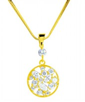 Afina Jewelry Round Shape Crystal Sparkle Korean Necklace Gold
