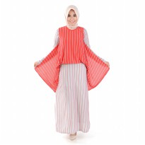 Jfashion Long Dress Gamis Maxi tangan Corak salur - Alfiana