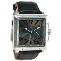 Christ Verra 52534G-21 Jam Tangan Pria Leather Strap - Hitam Ring Silver