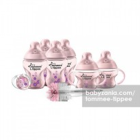 Tommee Tippee Closer to Nature Decorated Bottle Starter Set - Pink