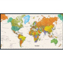 [globalbuy] Vintage World Map Canvas Oil painting Retro wall art sticker pictures for livi/4420633