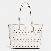 Authentic Coach City Tote In Perforated Cros Grain