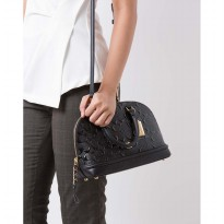 Authentic Coach Sierra in Signature Debossed Patent - Black