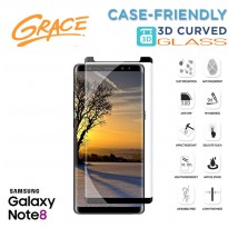 Grace Samsung Galaxy Note 8 / Note8 / 6.3' Temp Glass - 3D Curved Full Cover - Lis hitam