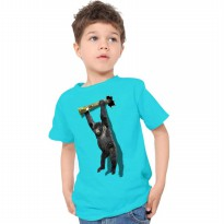 T-Shirt Glory Kaos 3D Kids Kingkong Rope - Biru Tosca