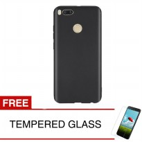 Case for Xiaomi Redmi Mi 5X - Slim Soft Case - Hitam Solid + Gratis Tempered Glass