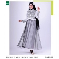 Busana muslim wanita/Gamis/Long Dress wanitaGarsel Fashion FDM 0013 ABU
