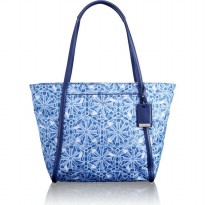 TUMI Q-TOTE LARGE MULTICOLOR BLUE & BLUE ORANGE