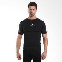Tiento Baselayer Tight Compression Baju Olahraga Short Sleeve Black White Original