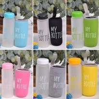 NEW MY BOTTLE BOTOL KACA+SARUNG POUCH