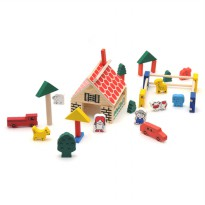 Village Block Kayu - Wooden Toys Mainan Block Kayu Ages 3+