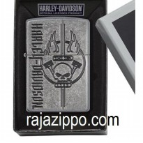 Zippo Armor 29280 Harley Davidson Antique Silver Plate Deep Carved Original USA - Stok Lengkap